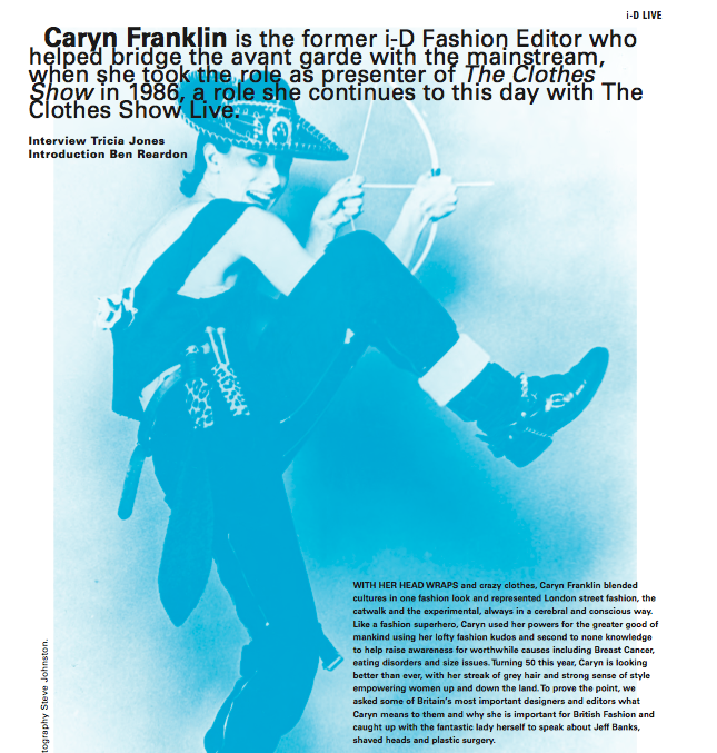 Caryn Franklin press i-D Magazine Sept 2009