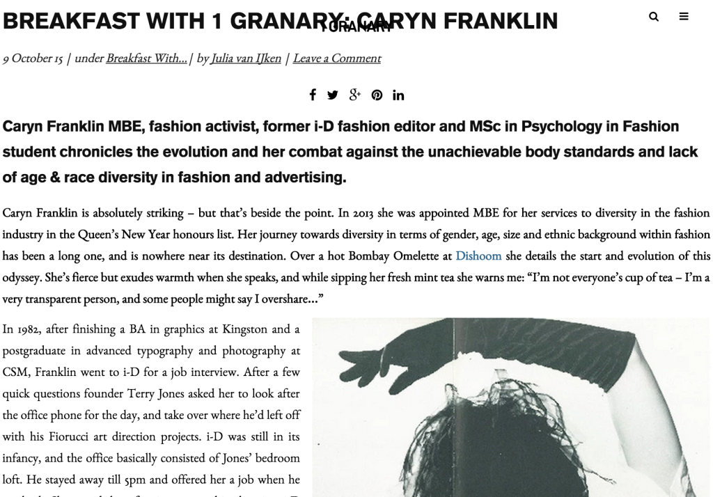 Press: Caryn Franklin has Breakfast at the Granary