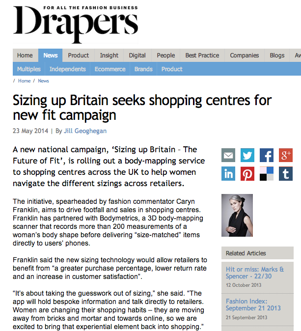 Caryn Franklin Drapers feature on Sizing up Britain