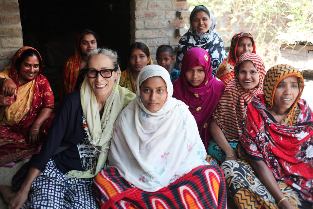 Caryn with weavers in Bangladesh
