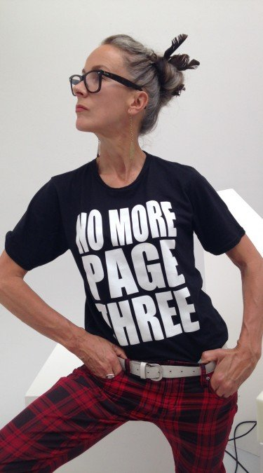 Caryn Franklin wears No More Page three T shirt